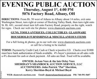 Evening Public Auction - August 1st