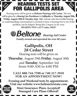 Hearing Tests Set For Gallipolis Area