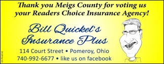 Thank you Meigs County for votin us your Readers Choice Insurance Agency!