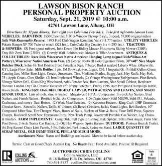 Lawson Bison Ranch -Personal Property  Auction