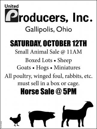 Small Animal Sale - October 12th