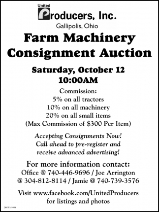 Farm Machinery Consignment Auction - October 12