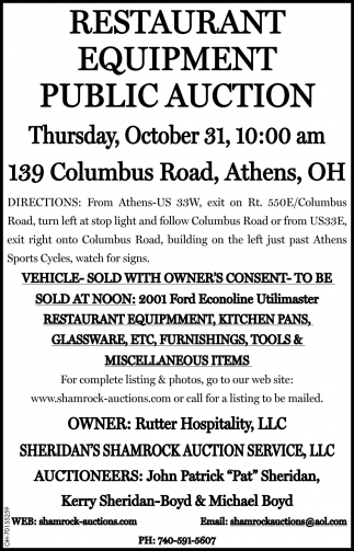 Restaurant Equipment Public Auction - October 31