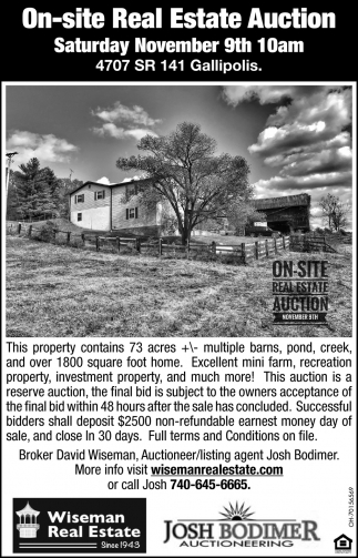 On-Site Real Estate Auction - November 9th