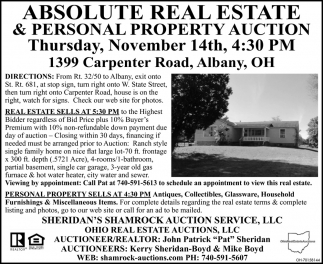 Absolute Real Estate & Personal Property Auction - November 14th