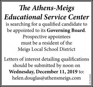 Is searching for a qualified candidate to be appointed to is Governing Board