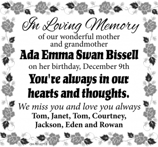 In loving Memory of Ada Emma Swan Bissell
