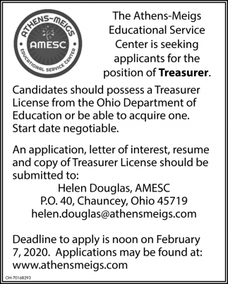 Is seeking applicants for the position of Treasurer