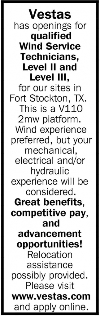 Wind Service Technicians Needed