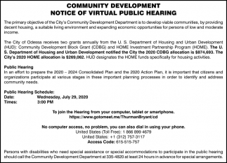Community Development Notice Of Virtual Public Hearing