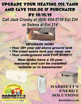 Upgrade Your Heating Oil Tank And Save $150.00 If Purchased By 10/15/19