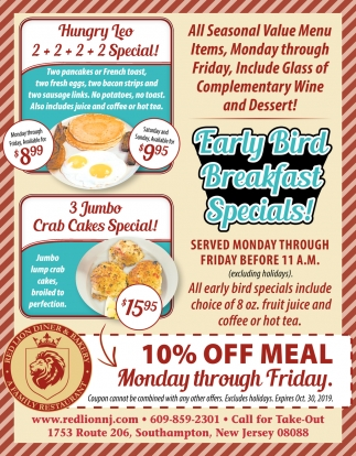 Early Bird Breakfast Specials!