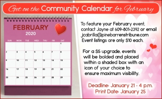 Get On The Community Calendar For February