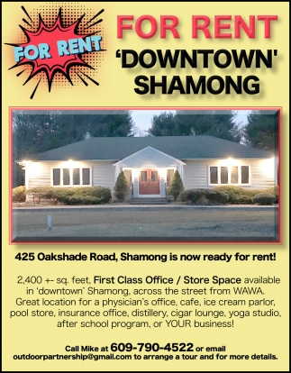 For Rent 'Downtown' Shamong