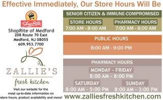 Senior Citizen & Immune-Compromised - Public Hours - Pharmacy Hours
