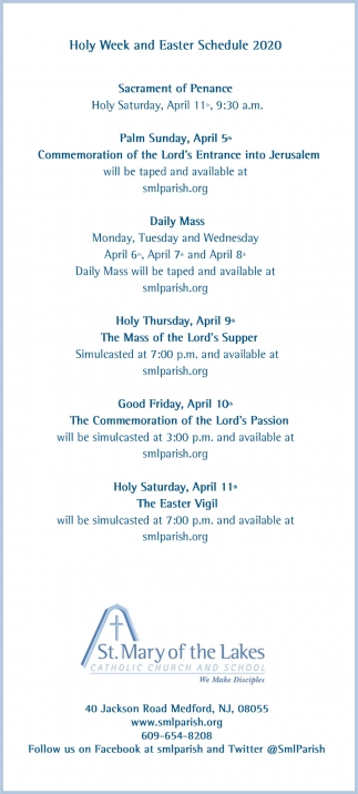 Holy Week And Easter Schedule 2020