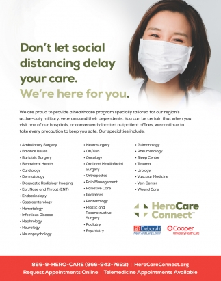 Don't Let Social Distancing Delay Your Care. We're Here For You.