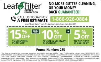No More Gutter Cleaning, Or Your Money Back Guaranteed!