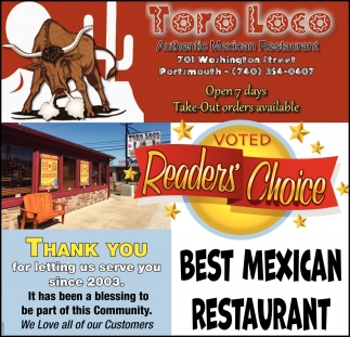 voted Reader's Choice - Best Mexican Restaurant