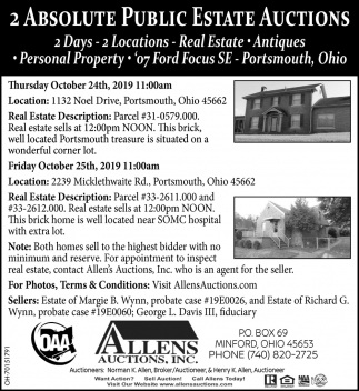 2 Absolute Public Estate Auctions - October 24th