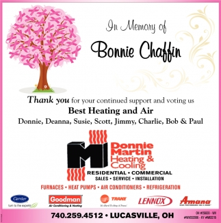 In memory of Bonnie Chaffin