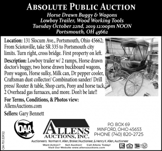 Absolute Public Auction - October 22nd