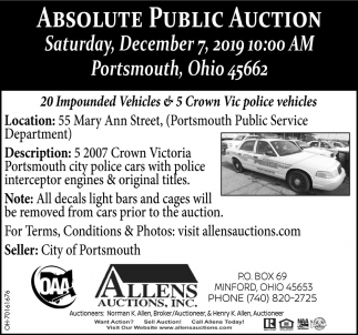 Absolute Public Auction - December 7
