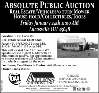 Absolute Public Auction - January 24th