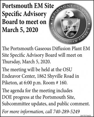 Portsmouth EM Site Specific Advisory Board to meet on March 5