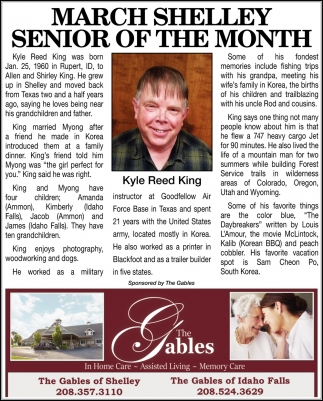 March Shelley Senior of the Month