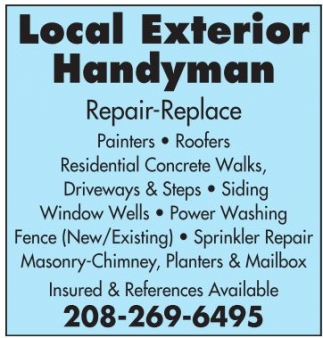 Repair, replace, Painters, Roofers, Concrete Walks, Driveways, Siding, Fence