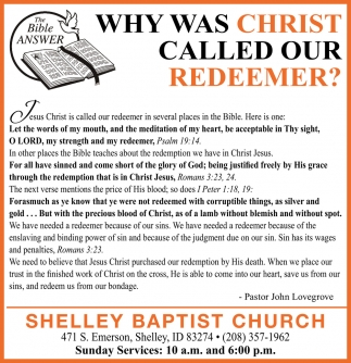 Why Was Christ Calld Our Redeemer?