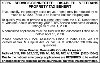 Disabled Vetrans Property Tax Benefit