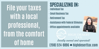 File your Taxes with a Local Professional