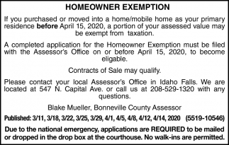 Homeowner Exemption