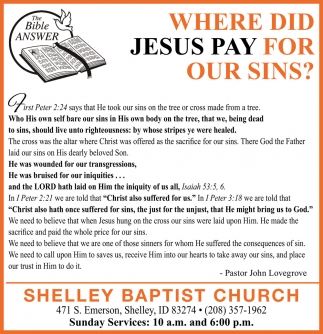 Where Did Jesus Pay for Our Sins?