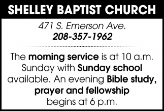 Morning Service is at 10 a.m.