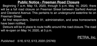 Freeman Road Closure