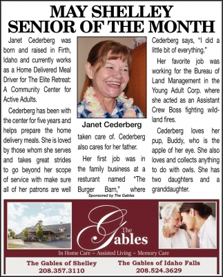 May Shelley Senior of the Month