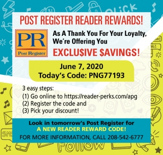 Post Register Reader Rewards