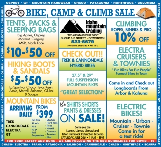 Bike, Camp & Climb Sale