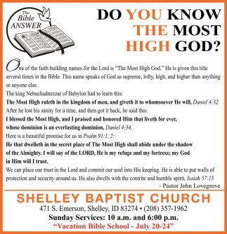 Do You Know The Most High God?