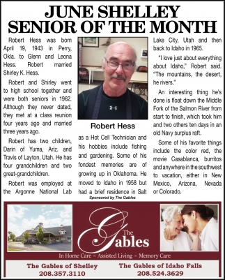 June Shelley Senior of The Month