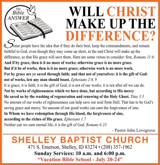 Will Christ Make Up The Difference?