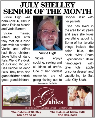 July Shelley Senior Of The Month