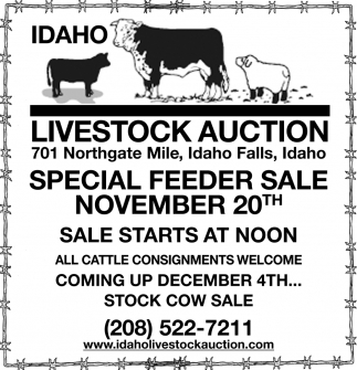 Special Feeder Sale November 20th