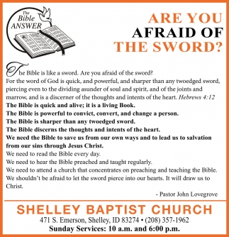 Are You Afraid Of The Sword?