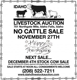 No cattle sale November 27th