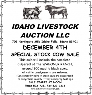 Dec. 4 Special Stock Cow Sale
