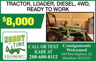 Tractor, Loader, Diesel, 4WD, Ready to work